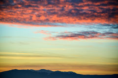 Sunset above the mountains Royalty Free Stock Photos