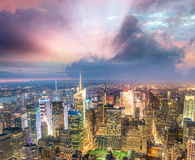 Sunset above New York City - Midtown Manhattan aerial view Royalty Free Stock Images