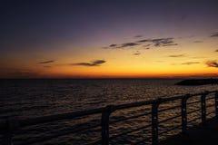 Melbourne City, St. Kilda Pier. Sunset above the ocean, Melbourne City, St. Kilda Pier, Australia Stock Images