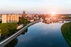 Sunset above Opole Stock Photography