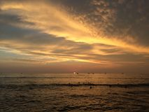 Sunset above Pacific Ocean - View from Waikiki Wall in Honolulu on Oahu Island, Hawaii. Royalty Free Stock Photos