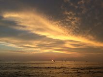 Sunset above Pacific Ocean - View from Waikiki Wall in Honolulu on Oahu Island, Hawaii. Royalty Free Stock Image