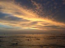 Sunset above Pacific Ocean - View from Waikiki Wall in Honolulu on Oahu Island, Hawaii. Stock Photos
