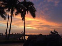 Sunset above Pacific Ocean - View from Waikiki Wall in Honolulu on Oahu Island, Hawaii. Stock Image