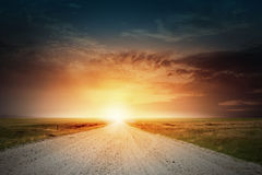 Sunset above road Royalty Free Stock Images