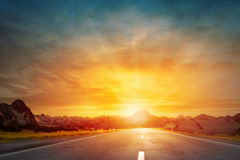 Sunset above road Royalty Free Stock Image