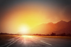 Sunset above road Royalty Free Stock Photos