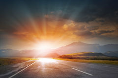 Sunset above road Royalty Free Stock Photo