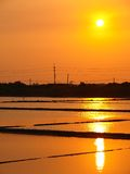 Sunset above the Salt Pan in Tainan, Taiwan Royalty Free Stock Image