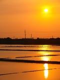 Sunset above the Salt Pan in Tainan, Taiwan Royalty Free Stock Image