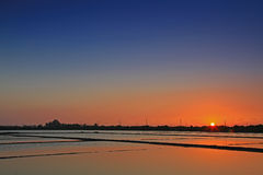 Sunset above the Salt Pan in Tainan, Taiwan Stock Photos