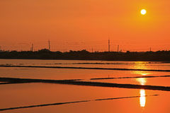 Sunset above the Salt Pan in Tainan, Taiwan Royalty Free Stock Photography