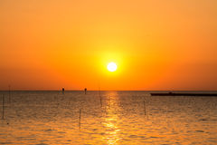 Sunset above the sea in Bangpu in Thailand Royalty Free Stock Photography