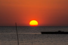 Sunset above the sea in Bangpu in Thailand Stock Image
