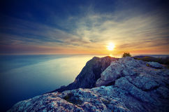 Sunset above the sea in the Crimean mountains Stock Images