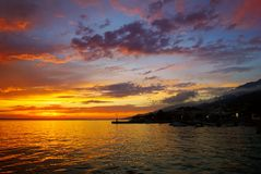 Sunset above sea level Stock Images