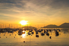 Sunset above the sea with many yachts. Lerici, Ligurian province, Italy royalty free stock photography