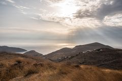 Sunset above Serifos Island, Cyclades, Greece royalty free stock photos