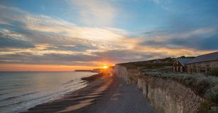 Sunset above Seven Sisters chalk cliffs east sussex england uk. royalty free stock photography