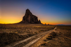 Sunset above Shiprock in New Mexico Royalty Free Stock Images
