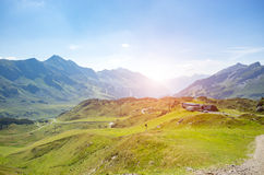 Sunset above the ski station in summer Stock Images