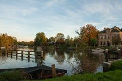 Sunset above the Small river  De Vecht Stock Photos