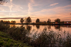 Sunset above the Small river  De Vecht Stock Images