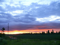 Sunset above the swamp and forest. Landscape nature. Stock Photos