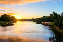 Sunset above Torrens river in Adelaide. Beautiful sunset above Torrens river in Adelaide CBD, South Australia Royalty Free Stock Photography