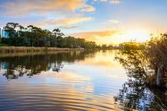 Sunset above Torrens river in Adelaide. Beautiful sunset above Torrens river in Adelaide CBD, South Australia Stock Photos