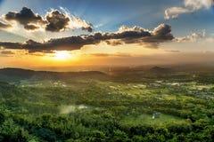 Sunset above town of Jogjakarta , Jawa, Indonesia Royalty Free Stock Images