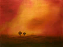 Sunset above trees. Original acrylic painting of the two cypresse trees. I'm the author of this painting Stock Photo