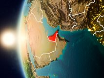 Sunset above United Arab Emirates from space. Illustration of United Arab Emirates as seen from Earth's orbit during sunset with visible country borders. 3D Stock Images