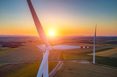 Sunset above the windmills Royalty Free Stock Photos