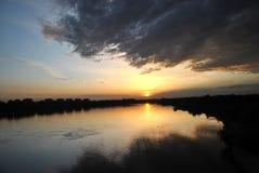 Sunset above the Wloclawek Royalty Free Stock Photo