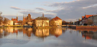 Sunset above Wroclaw. Wroclaw old town seen from the odra river, Poland Royalty Free Stock Photography