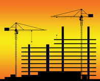 Sunset abowe building site Stock Image