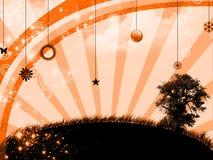 Sunset in abstract landscape. Digital illustration royalty free illustration