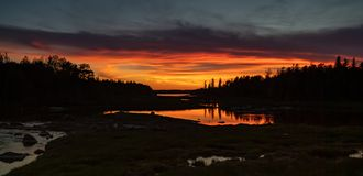 Sunset in Acadia National Park. In Maine stock image