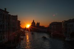 Sunset of Accademia`s bridge. Venice, Italy. Panorama Of The Grand Canal Stock Photos