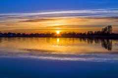 Sunset at the Achterwasser Lagoon near Zinnowitz Royalty Free Stock Image