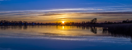 Sunset at the Achterwasser Lagoon near Zinnowitz Stock Photo