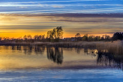 Sunset at the Achterwasser Lagoon near Zinnowitz Stock Images