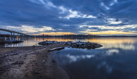 Sunset Across the Severn River. A long exposure of the last light of the sunset fading over the horizon. This is a view of the Severn River looking towards Royalty Free Stock Image