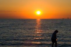 Sunset Activities. Beach Activities at sunset Royalty Free Stock Photo