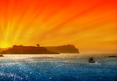 Sunset on the Adriatic sea. And ship Stock Images