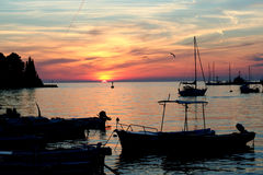 Sunset from the Adriatic Sea. And fish ship Stock Photography