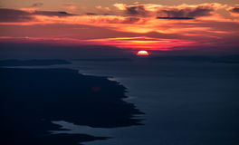 Sunset in Adriatic. See with island Brac from Biokovo Royalty Free Stock Photo
