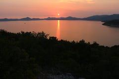 Sunset. Adriatic sunset. Summer sunset in a seaside near Dubrovnik. Sunset skyline stock photo