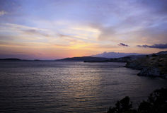 Sunset in Aegean Greece Royalty Free Stock Image